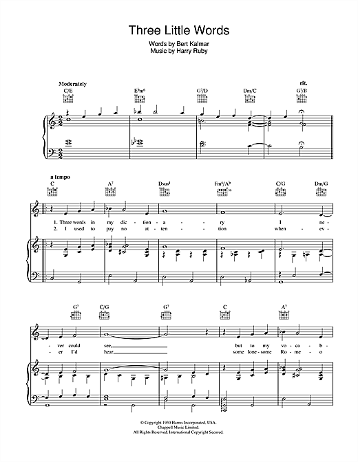 Harry Ruby Three Little Words sheet music notes and chords