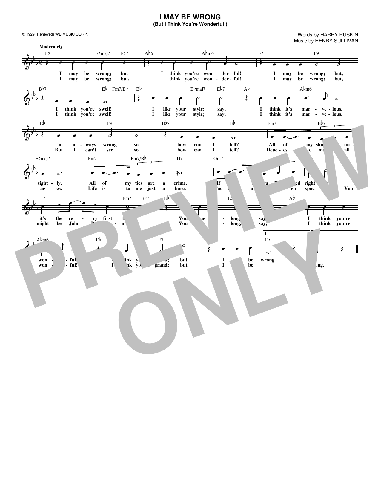 Harry Ruskin I May Be Wrong (But I Think You're Wonderful!) sheet music notes and chords. Download Printable PDF.