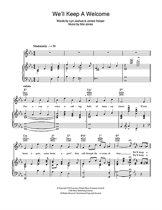 Harry Secombe We'll Keep A Welcome sheet music notes and chords. Download Printable PDF.