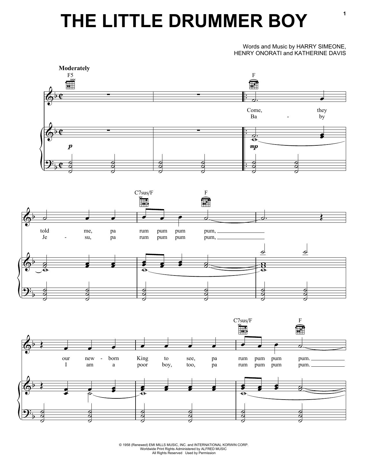 Harry Simeone The Little Drummer Boy sheet music notes and chords. Download Printable PDF.