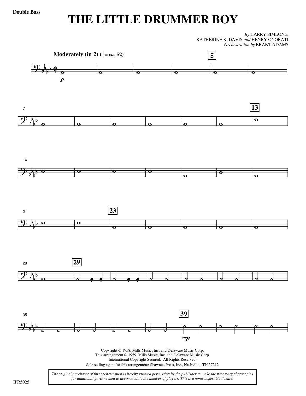 Harry Simeone The Little Drummer Boy - Double Bass sheet music notes and chords. Download Printable PDF.