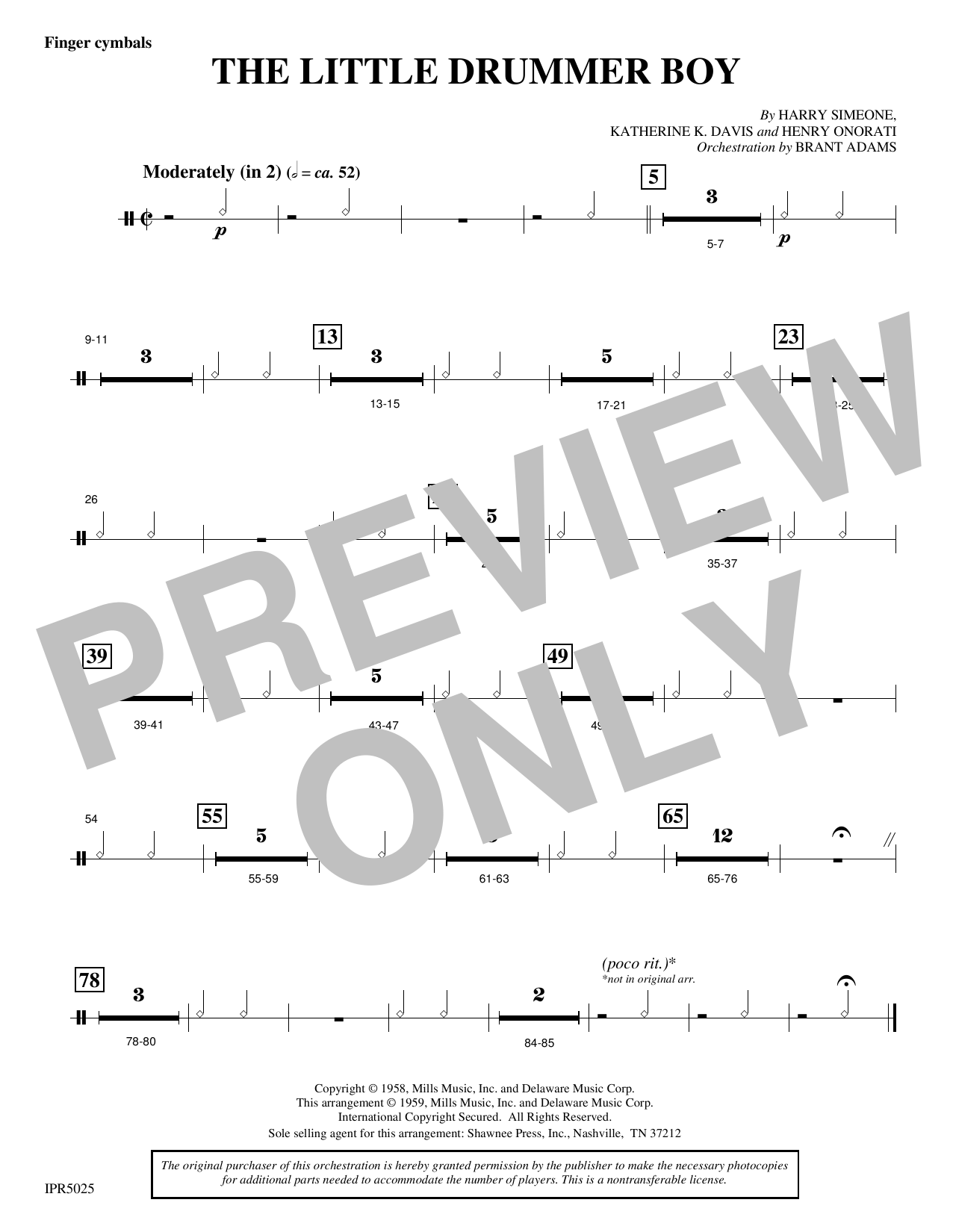 Harry Simeone The Little Drummer Boy - Finger Cymbals sheet music notes and chords. Download Printable PDF.