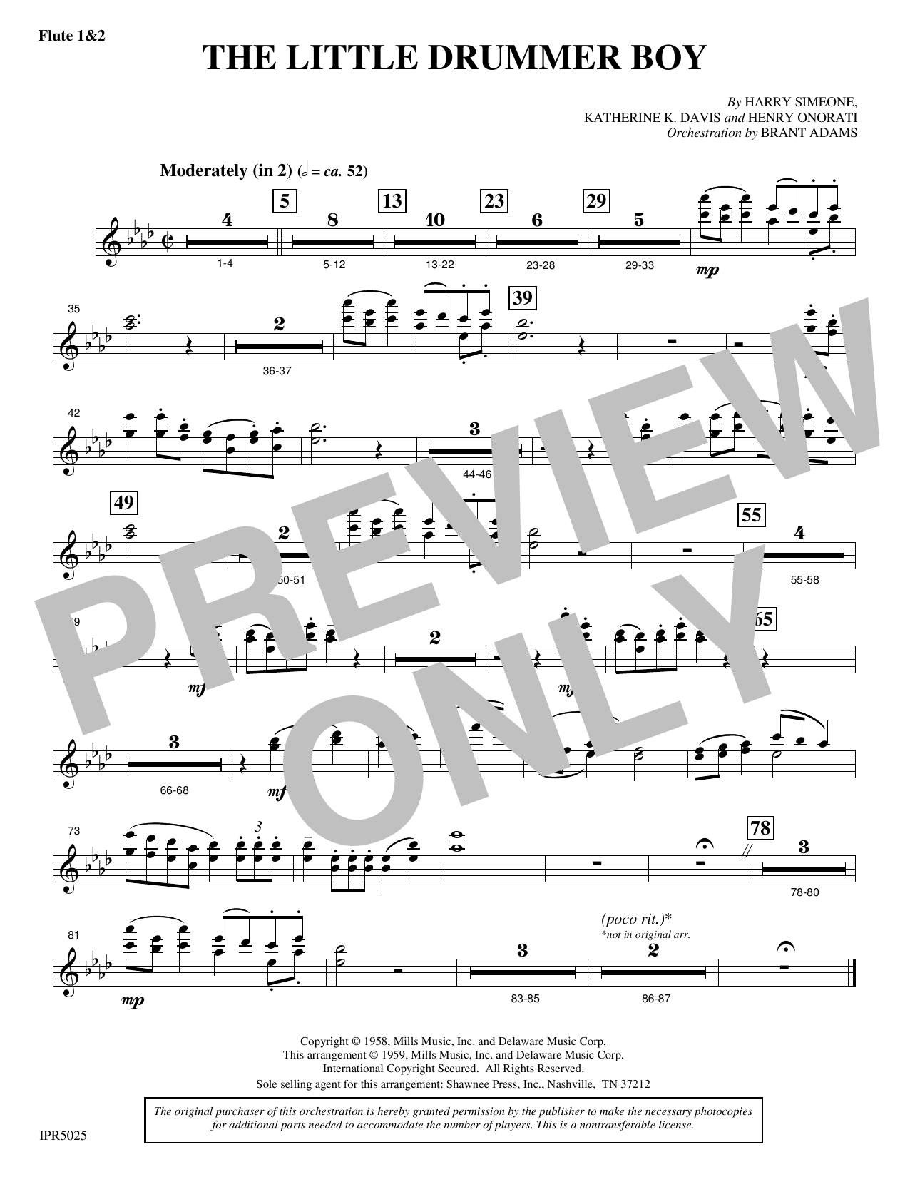 Harry Simeone The Little Drummer Boy - Flute 1 & 2 sheet music notes and chords. Download Printable PDF.