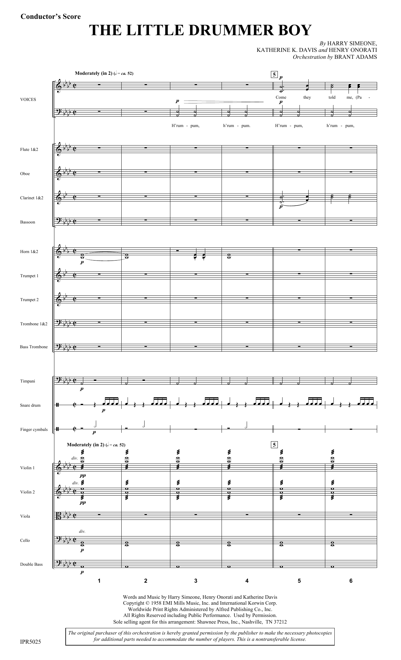 Harry Simeone The Little Drummer Boy - Full Score sheet music notes and chords. Download Printable PDF.