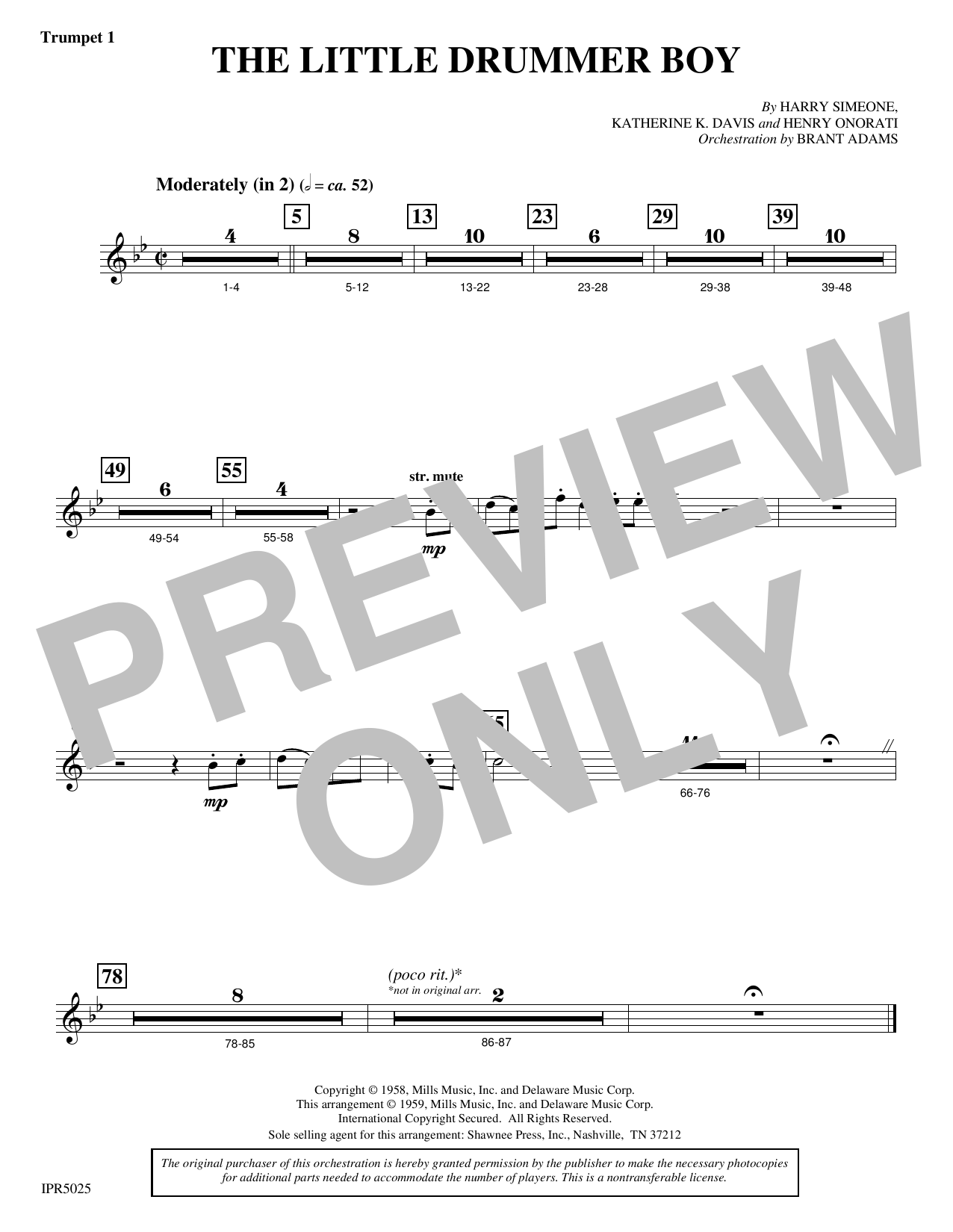 Harry Simeone The Little Drummer Boy - Trumpet 1 sheet music notes and chords. Download Printable PDF.
