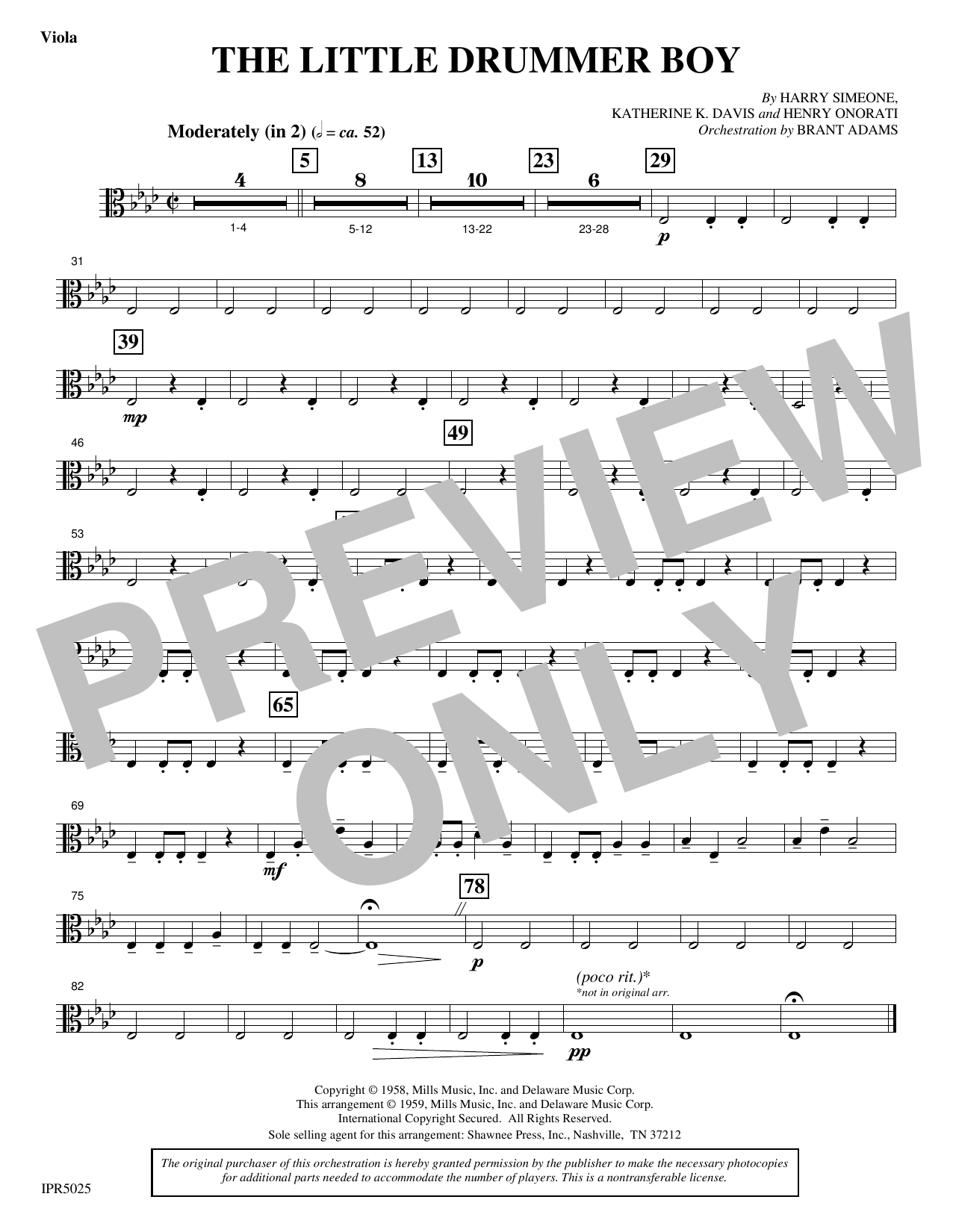 Harry Simeone The Little Drummer Boy - Viola sheet music notes and chords. Download Printable PDF.