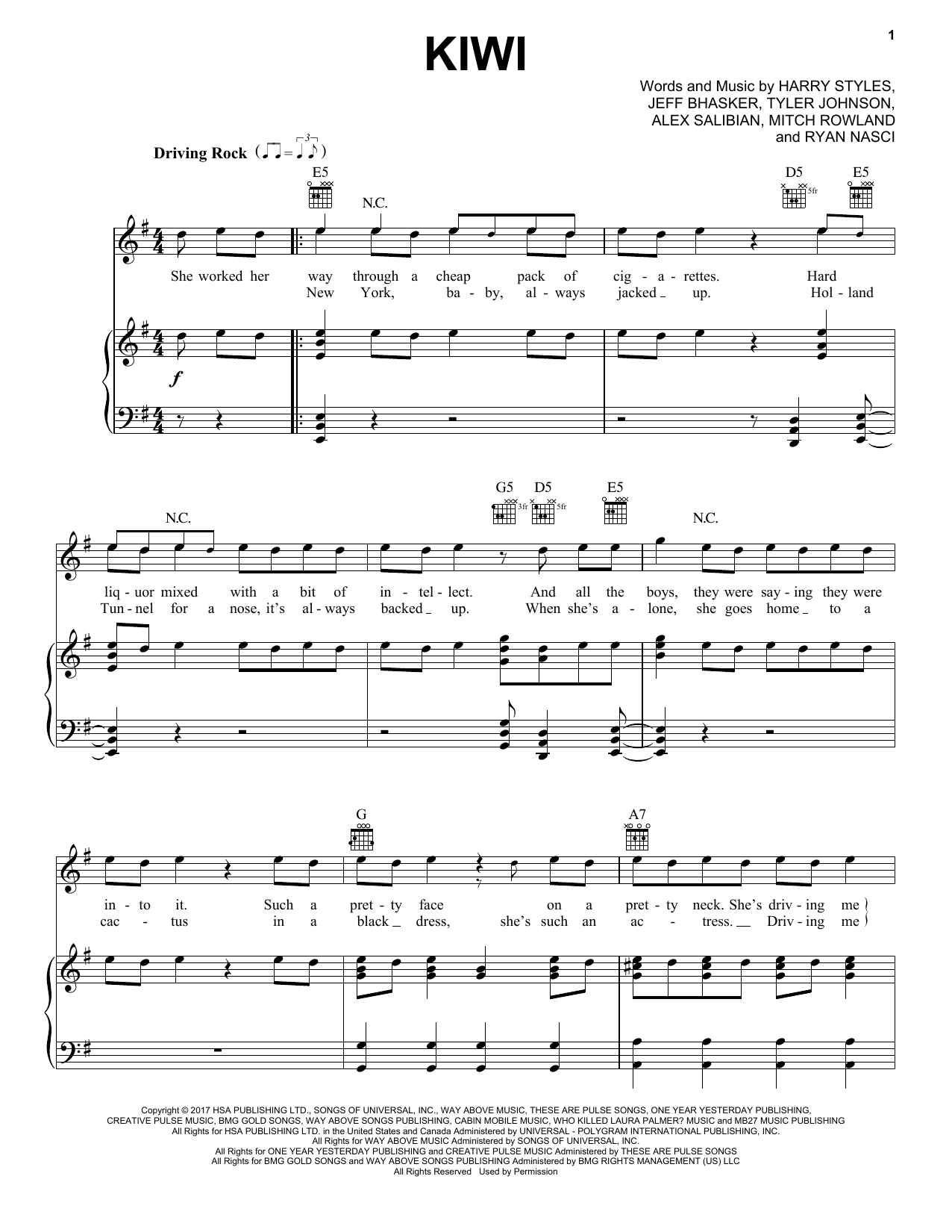 Harry Styles Kiwi sheet music notes and chords. Download Printable PDF.