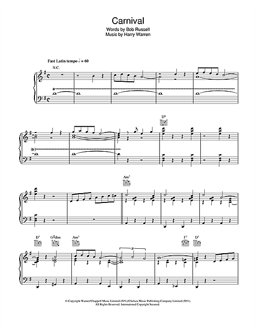 Harry Warren Carnival sheet music notes and chords. Download Printable PDF.