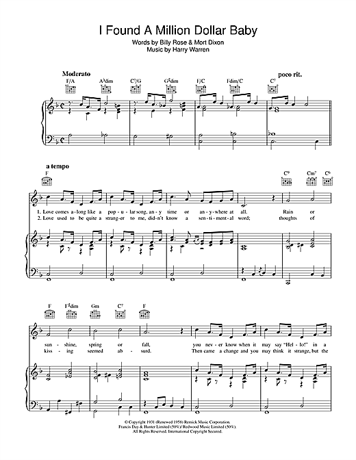 Harry Warren I Found A Million Dollar Baby (In A Five And Ten Store) sheet music notes and chords. Download Printable PDF.