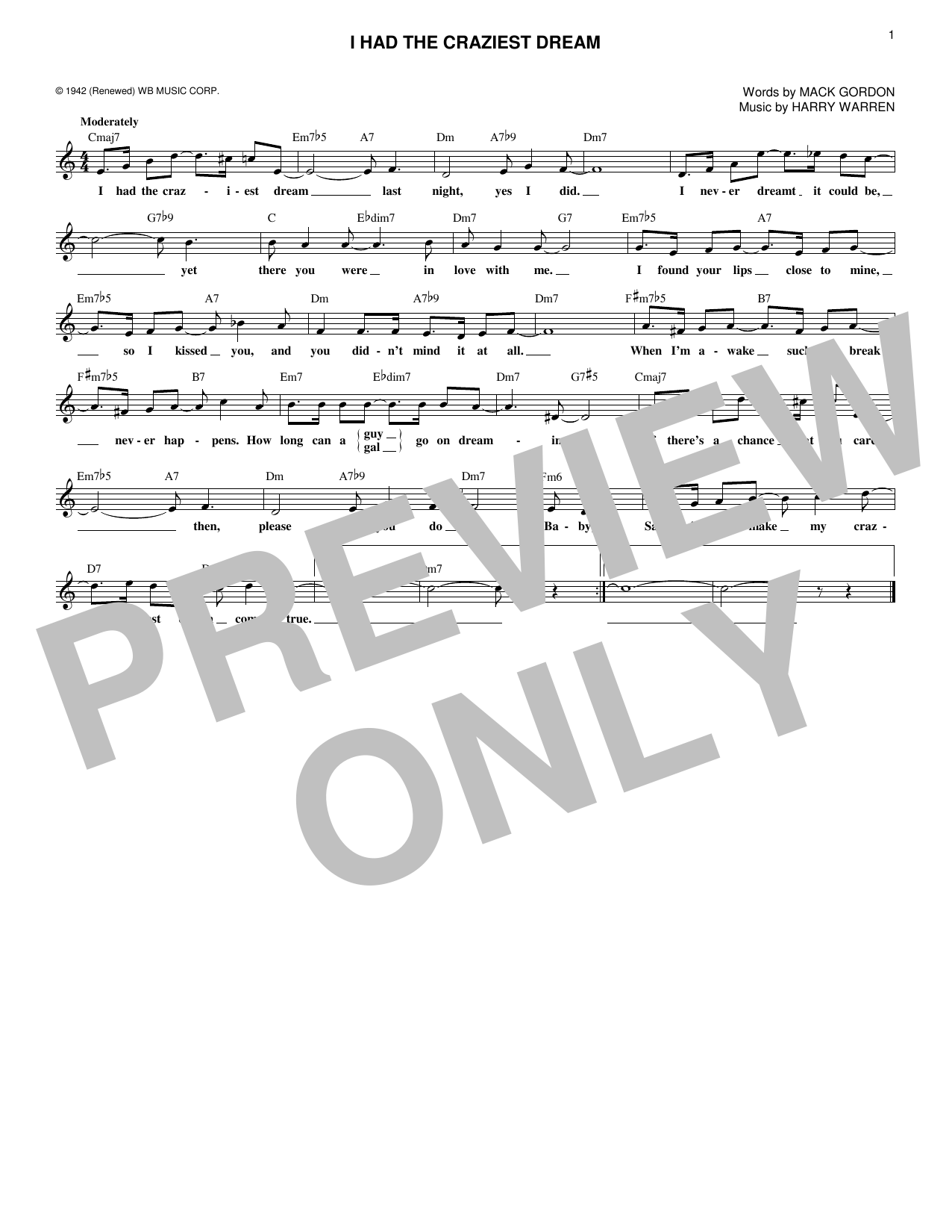 Harry Warren I Had The Craziest Dream sheet music notes and chords. Download Printable PDF.