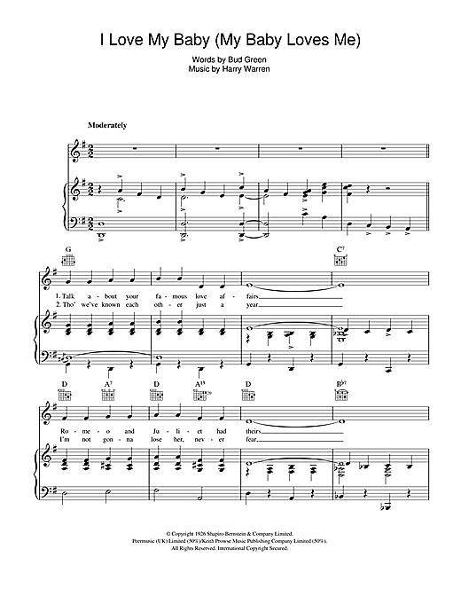 Harry Warren I Love My Baby (My Baby Loves Me) sheet music notes and chords. Download Printable PDF.