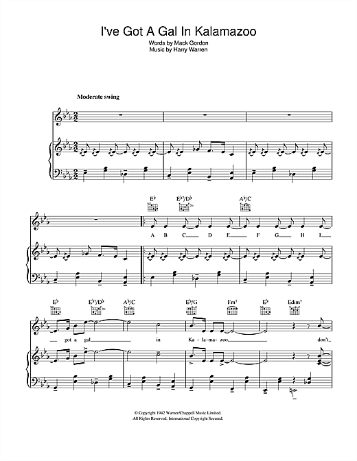 Harry Warren I've Got A Gal In Kalamazoo sheet music notes and chords. Download Printable PDF.