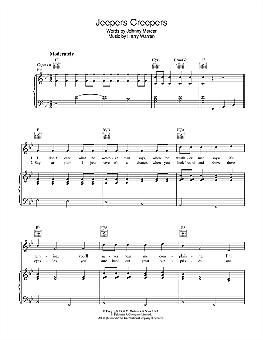 Harry Warren Jeepers Creepers sheet music notes and chords. Download Printable PDF.