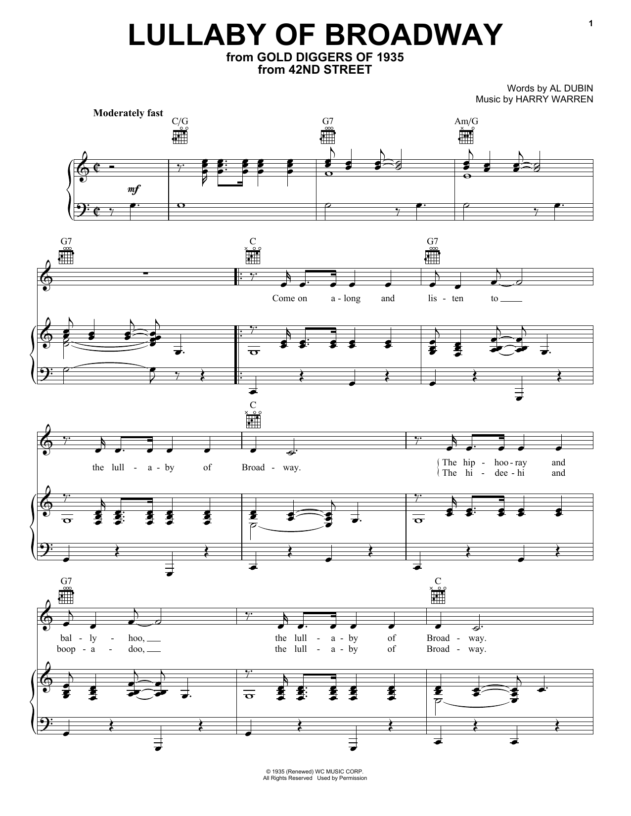 Harry Warren Lullaby Of Broadway sheet music notes and chords. Download Printable PDF.