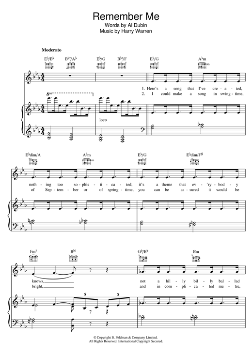 Harry Warren Remember Me sheet music notes and chords. Download Printable PDF.