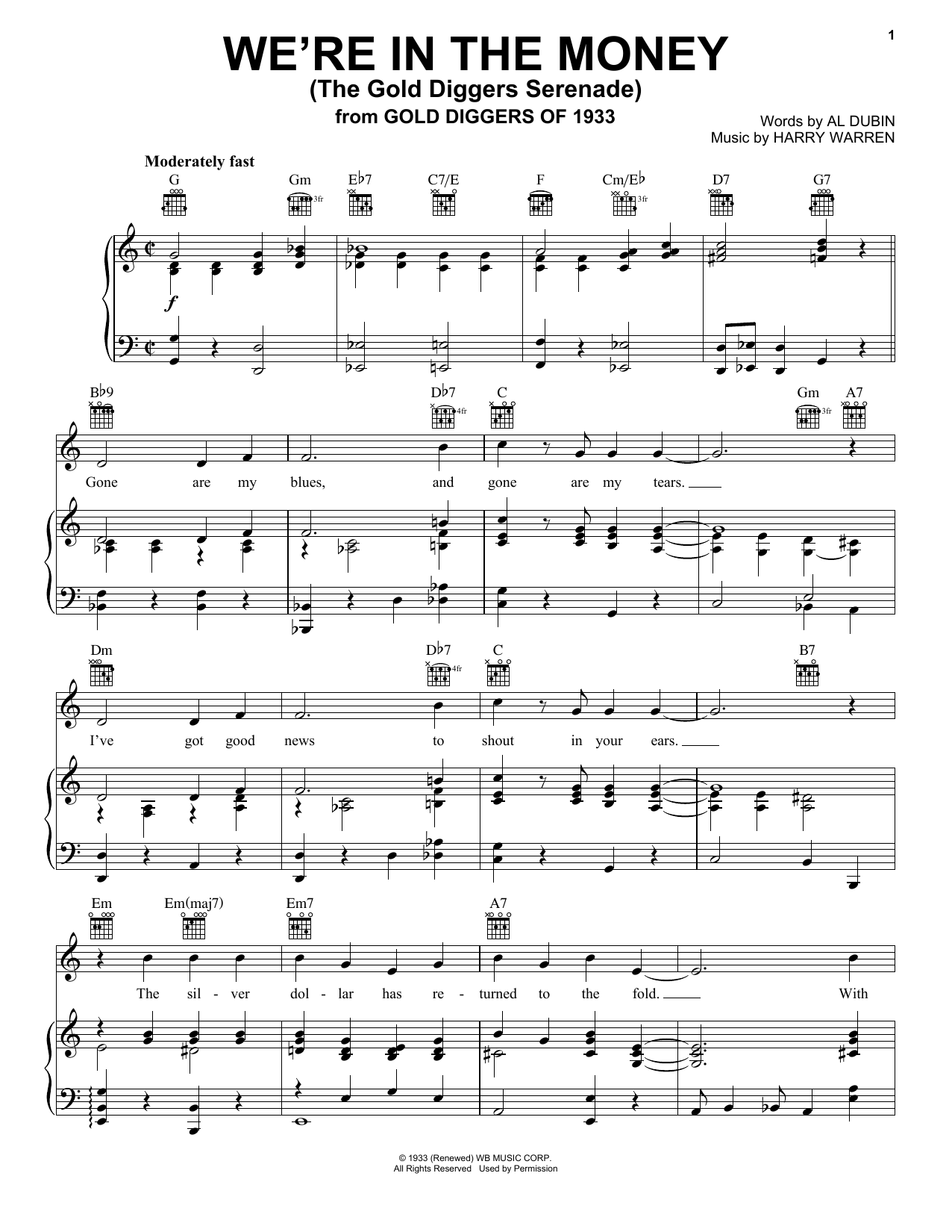 Harry Warren We're In The Money (The Gold Diggers Serenade) sheet music notes and chords. Download Printable PDF.