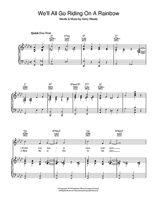 Harry Woods We'll All Go Riding On A Rainbow sheet music notes and chords. Download Printable PDF.