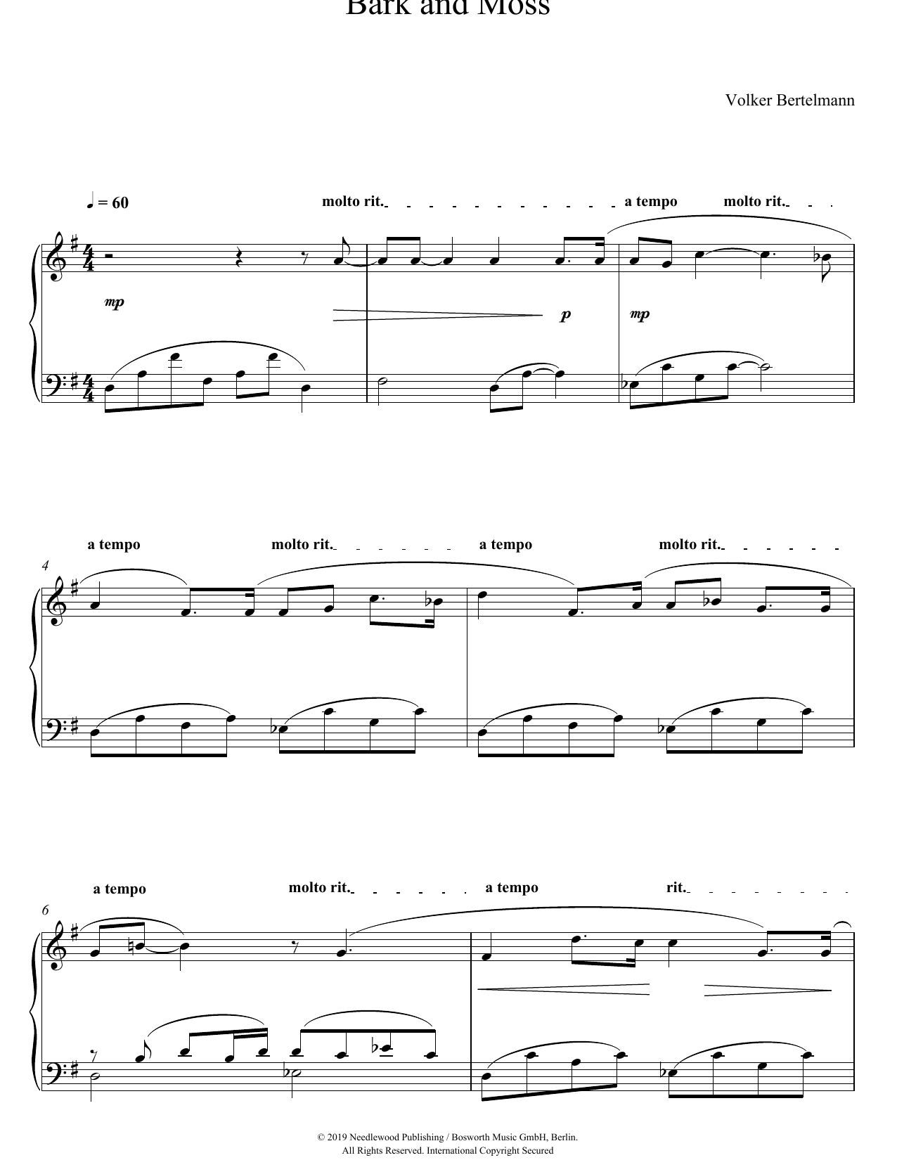 Hauschka Bark And Moss sheet music notes and chords. Download Printable PDF.