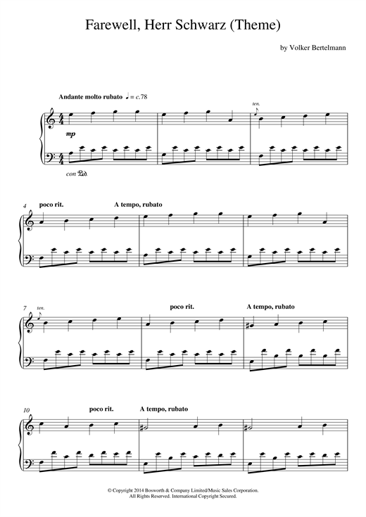 Hauschka Farewell, Herr Schwarz (Theme) sheet music notes and chords. Download Printable PDF.