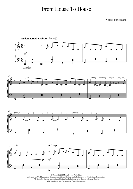 Hauschka From House To House sheet music notes and chords