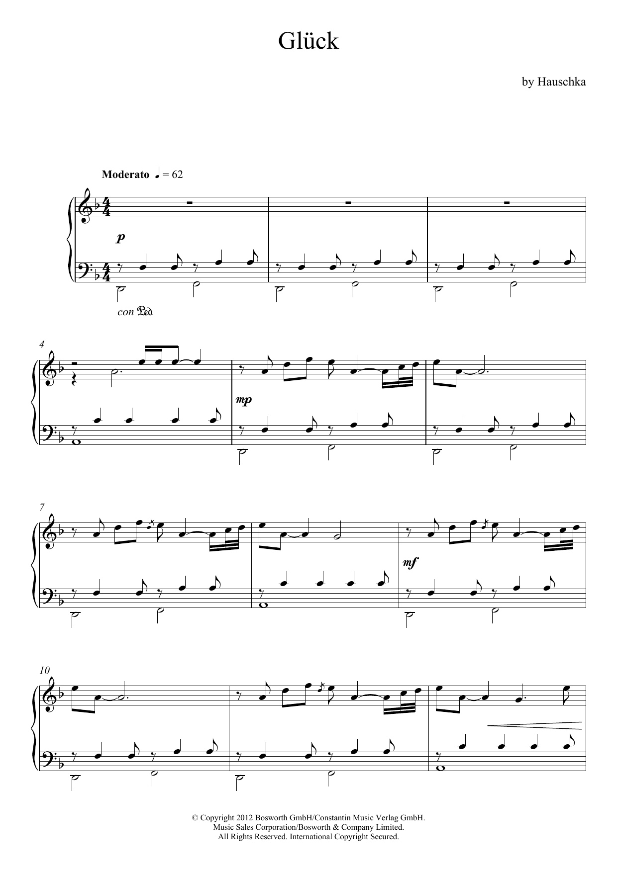 Hauschka Glück (Theme) sheet music notes and chords. Download Printable PDF.