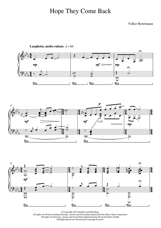 Hauschka Hope They Come Back sheet music notes and chords
