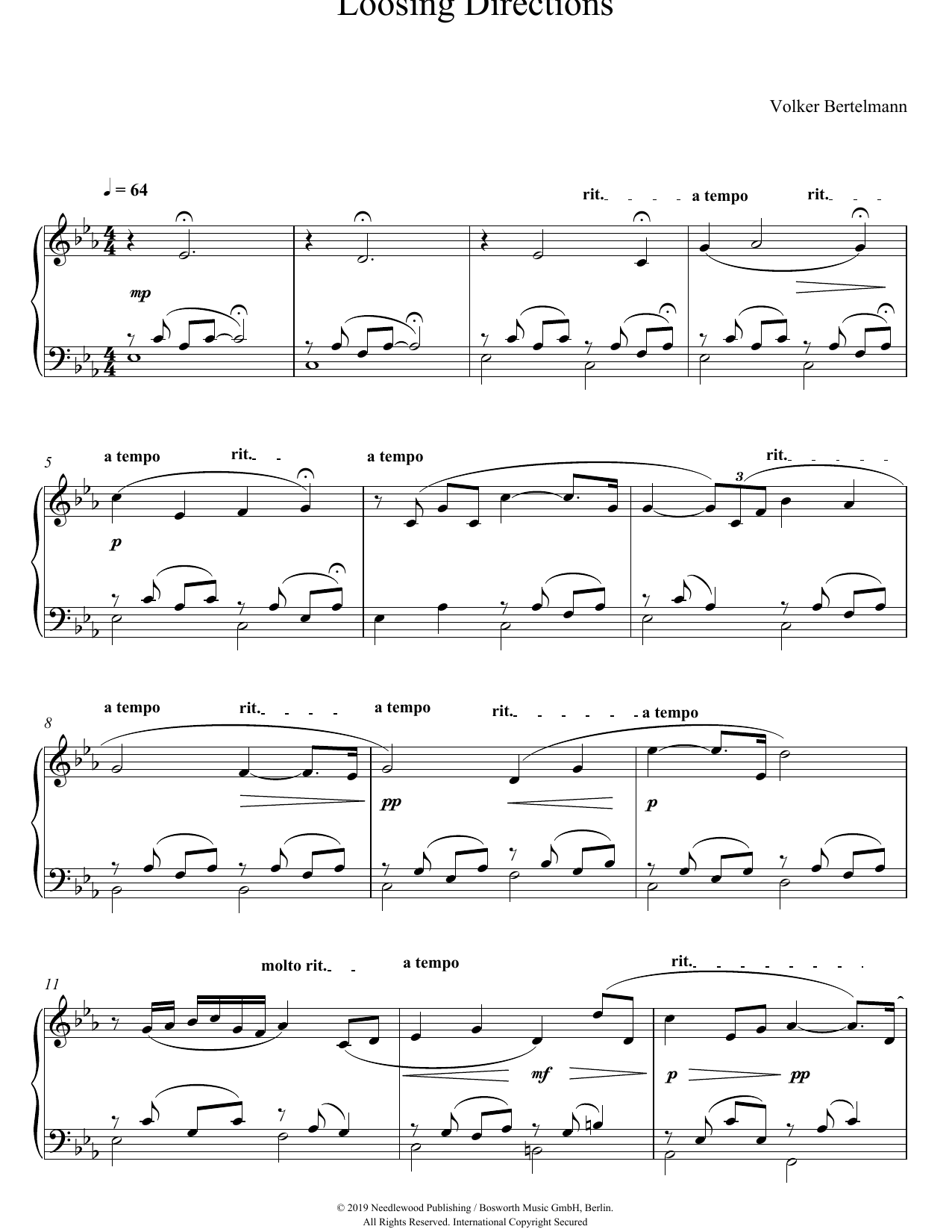 Hauschka Loosing Directions sheet music notes and chords. Download Printable PDF.