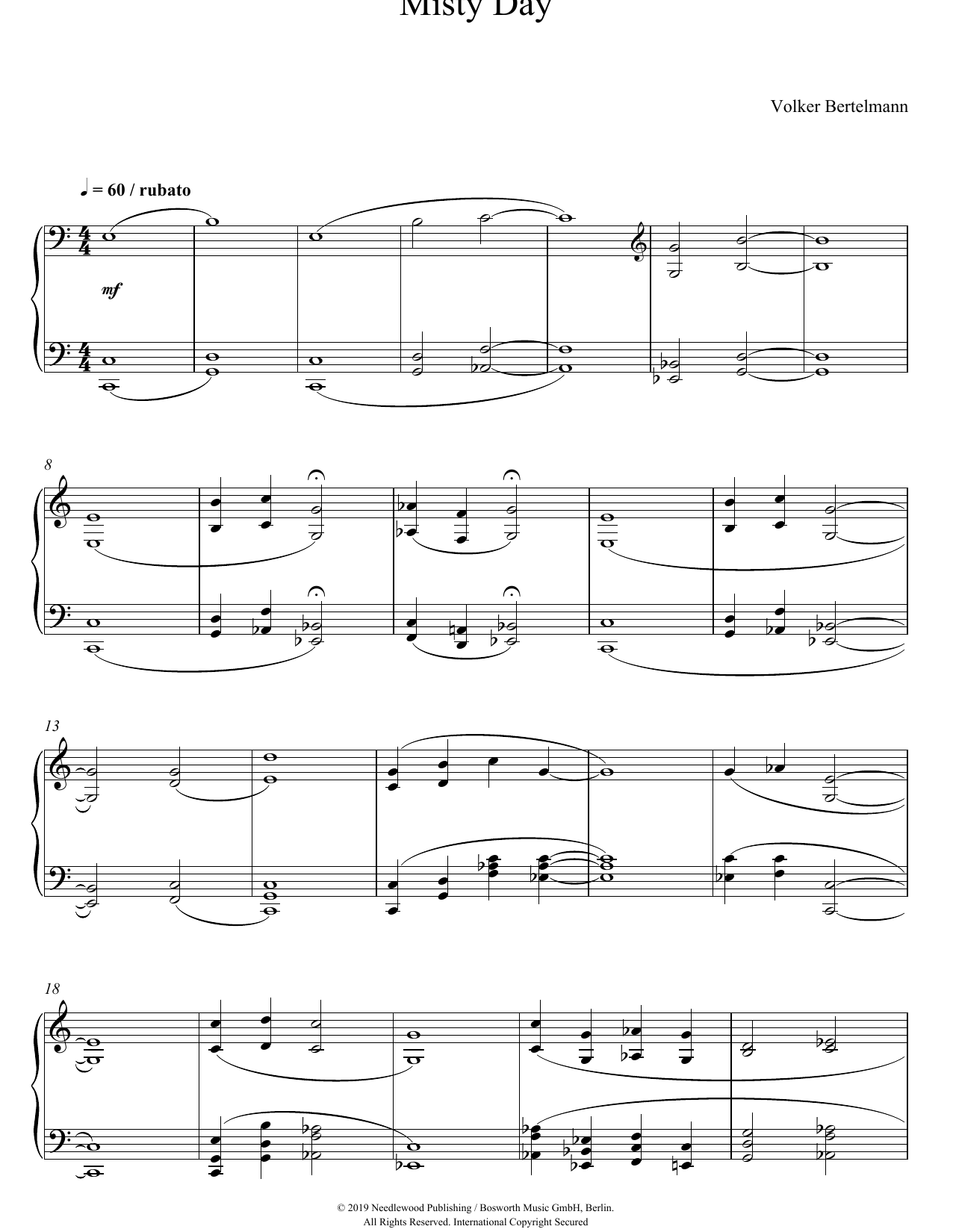 Hauschka Misty Day sheet music notes and chords. Download Printable PDF.