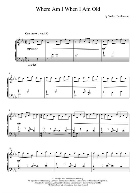 Hauschka Where Am I When I Am Old sheet music notes and chords. Download Printable PDF.