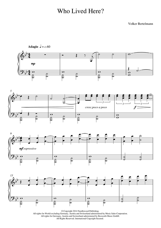 Hauschka Who Lived Here? sheet music notes and chords. Download Printable PDF.
