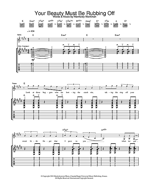 Hawksley Workman Your Beauty Must Be Rubbing Off sheet music notes and chords. Download Printable PDF.
