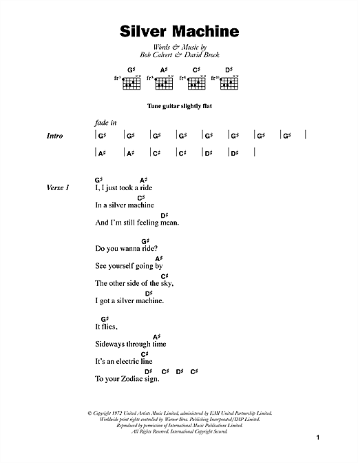 Hawkwind Silver Machine sheet music notes and chords. Download Printable PDF.