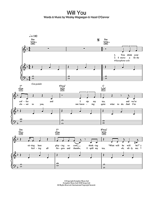 Hazel O'Connor Will You sheet music notes and chords. Download Printable PDF.