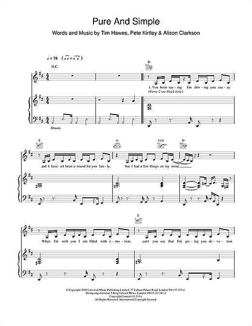 Hear'Say Pure And Simple sheet music notes and chords. Download Printable PDF.