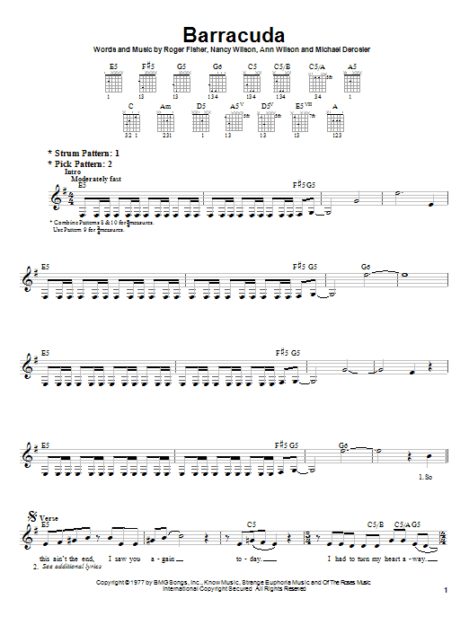 Heart Barracuda sheet music notes and chords