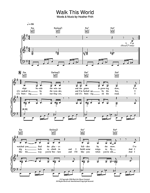 Heather Nova Walk This World sheet music notes and chords. Download Printable PDF.
