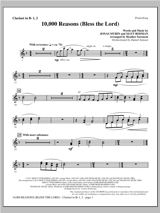 Heather Sorenson 10,000 Reasons (Bless The Lord) - Bb Clarinet 1 & 2 sheet music notes and chords