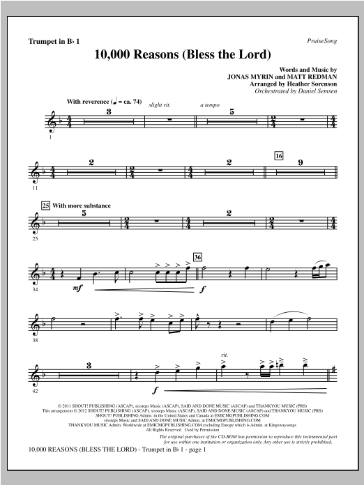 Heather Sorenson 10,000 Reasons (Bless The Lord) - Bb Trumpet 1 sheet music notes and chords