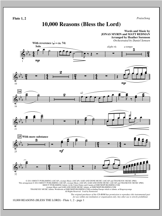 Heather Sorenson 10,000 Reasons (Bless The Lord) - Flute 1 & 2 sheet music notes and chords