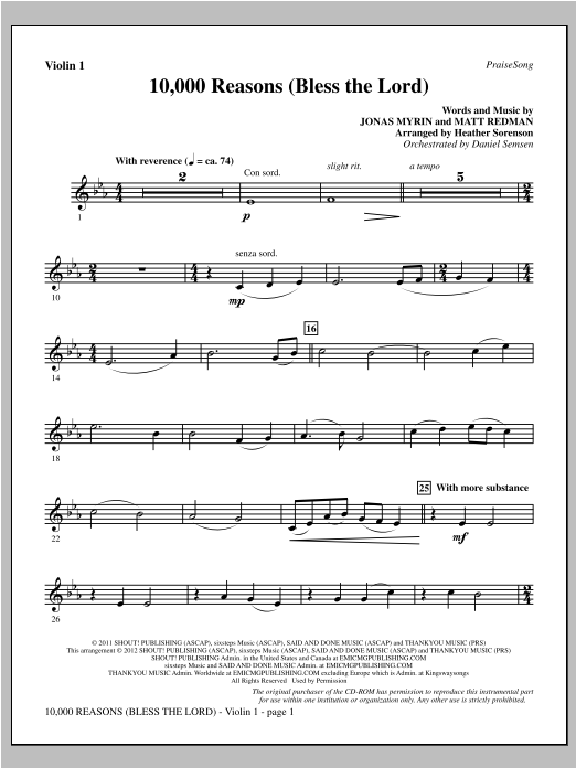 Heather Sorenson 10,000 Reasons (Bless The Lord) - Violin 1 sheet music notes and chords