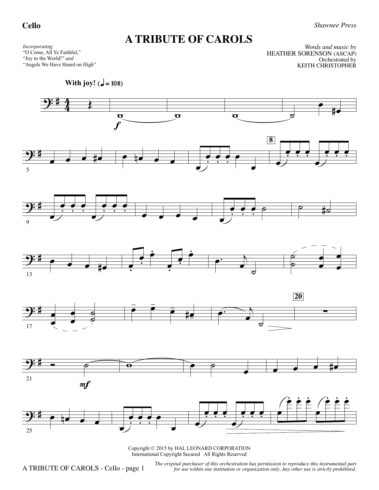 Heather Sorenson A Tribute of Carols - Cello sheet music notes and chords. Download Printable PDF.
