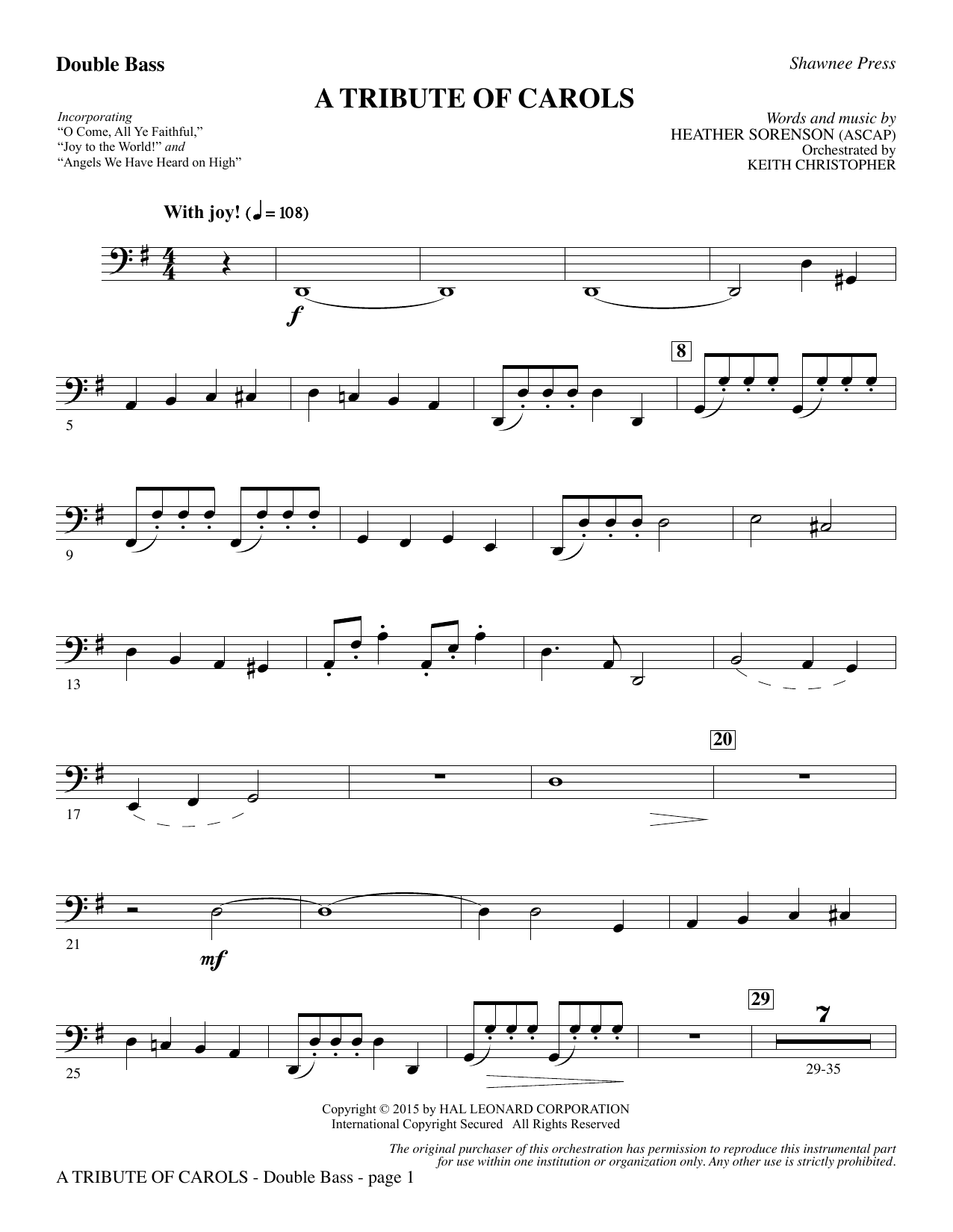 Heather Sorenson A Tribute of Carols - Double Bass sheet music notes and chords. Download Printable PDF.
