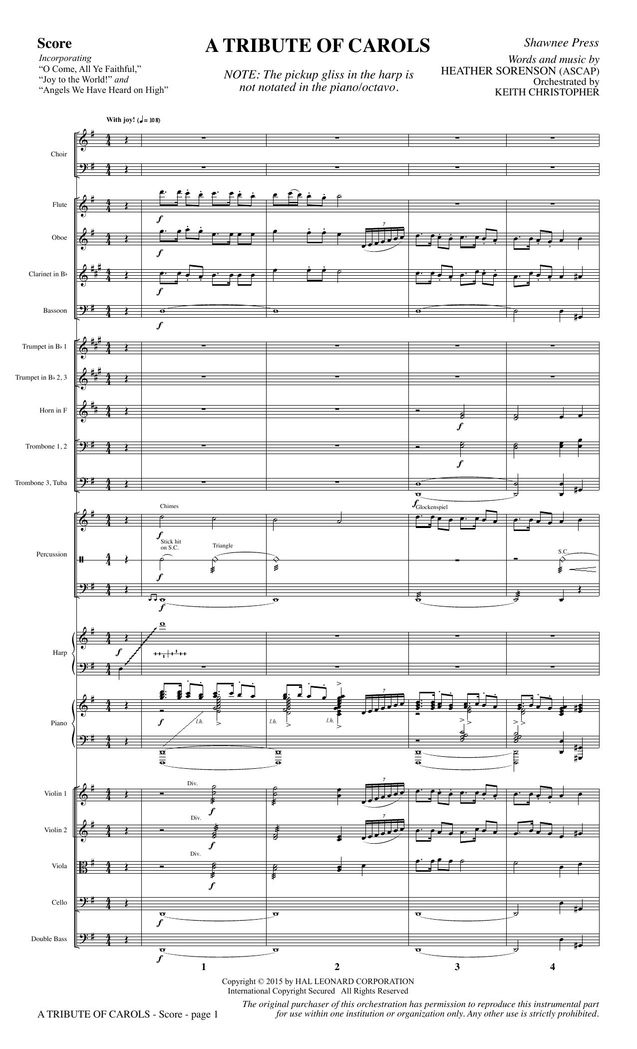 Heather Sorenson A Tribute of Carols - Full Score sheet music notes and chords. Download Printable PDF.