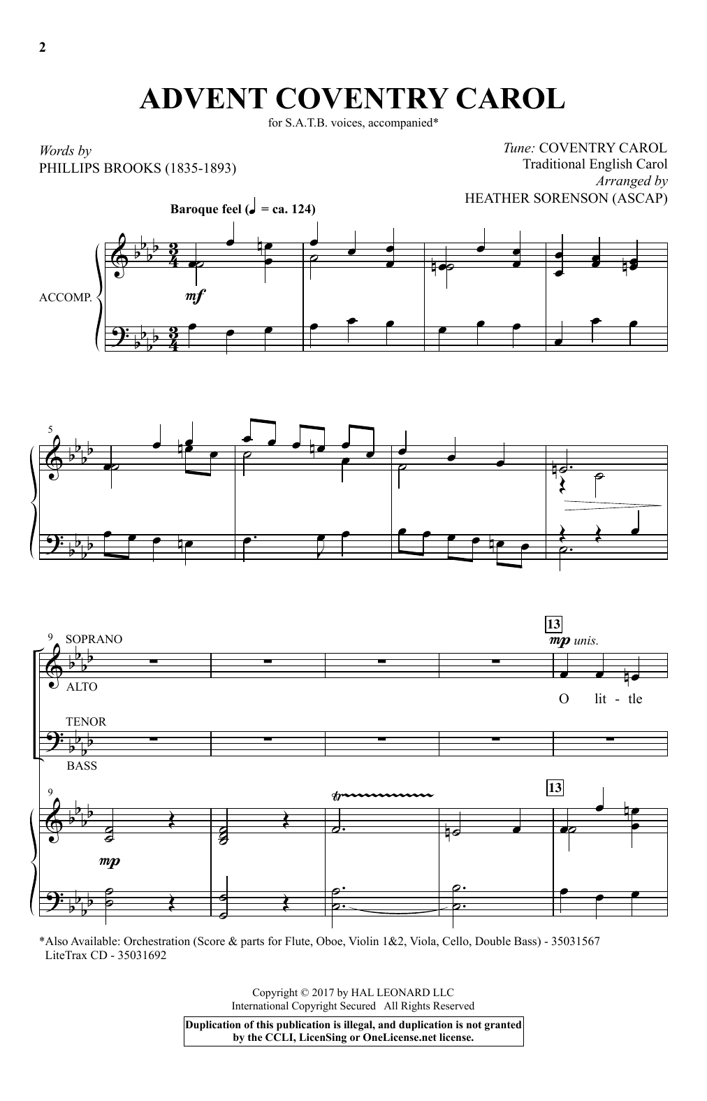 Heather Sorenson Advent Coventry Carol sheet music notes and chords. Download Printable PDF.