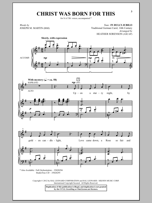 Heather Sorenson Christ Was Born For This sheet music notes and chords. Download Printable PDF.