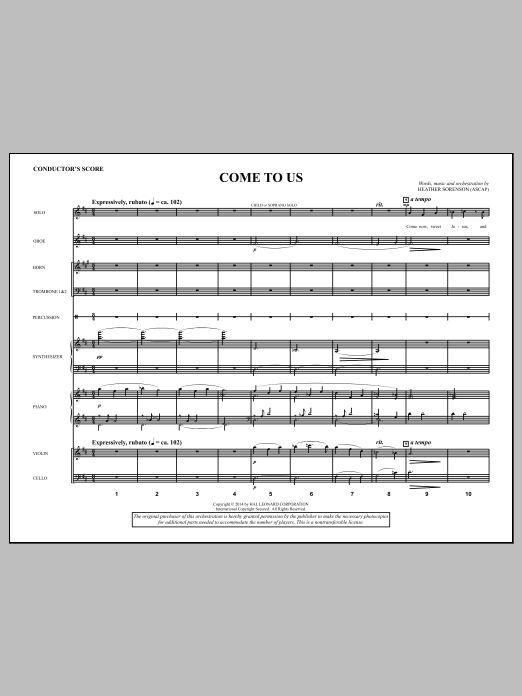 Heather Sorenson Come to Us - Score sheet music notes and chords. Download Printable PDF.