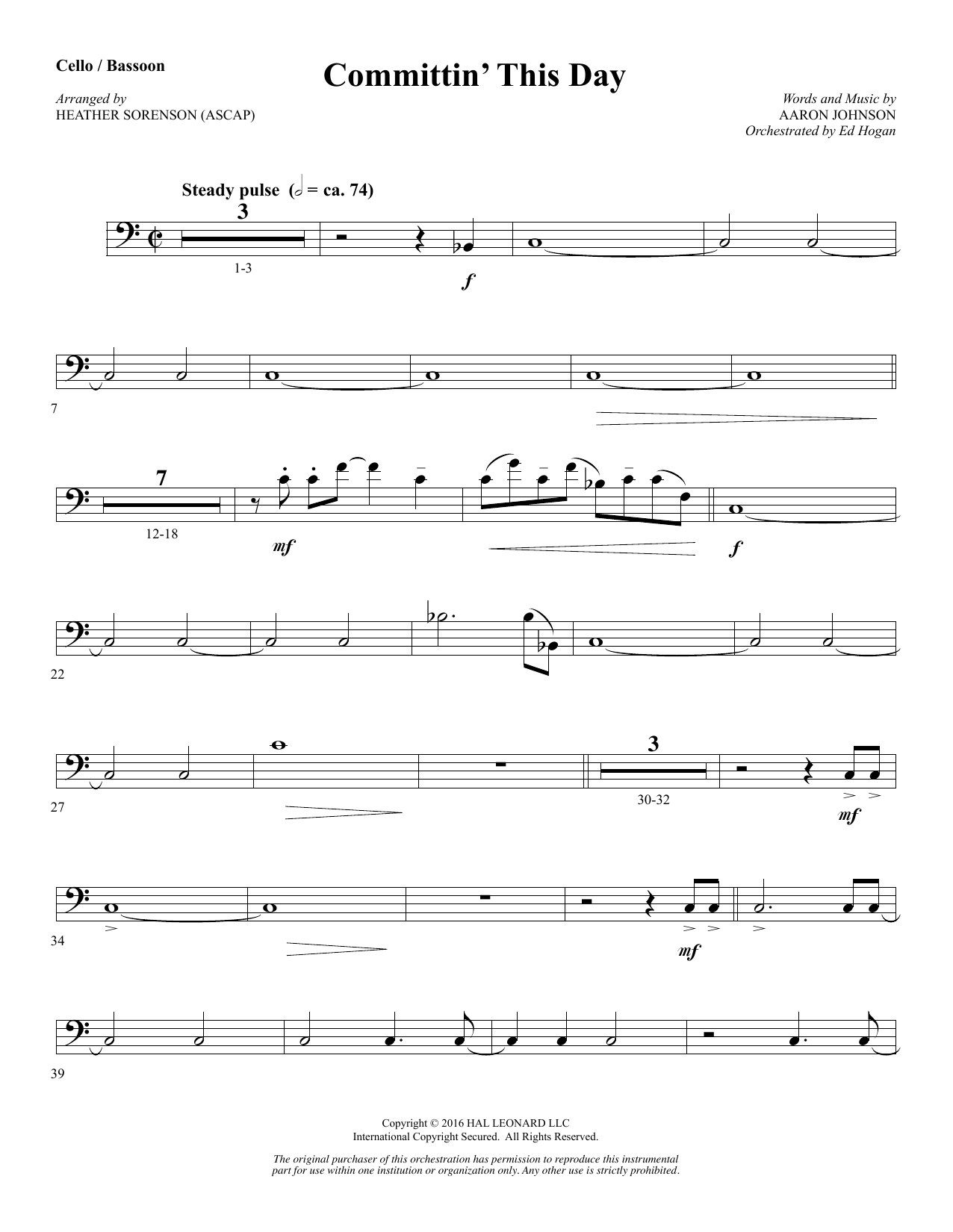 Heather Sorenson Committin' This Day - Cello (Opt. Bassoon) sheet music notes and chords. Download Printable PDF.