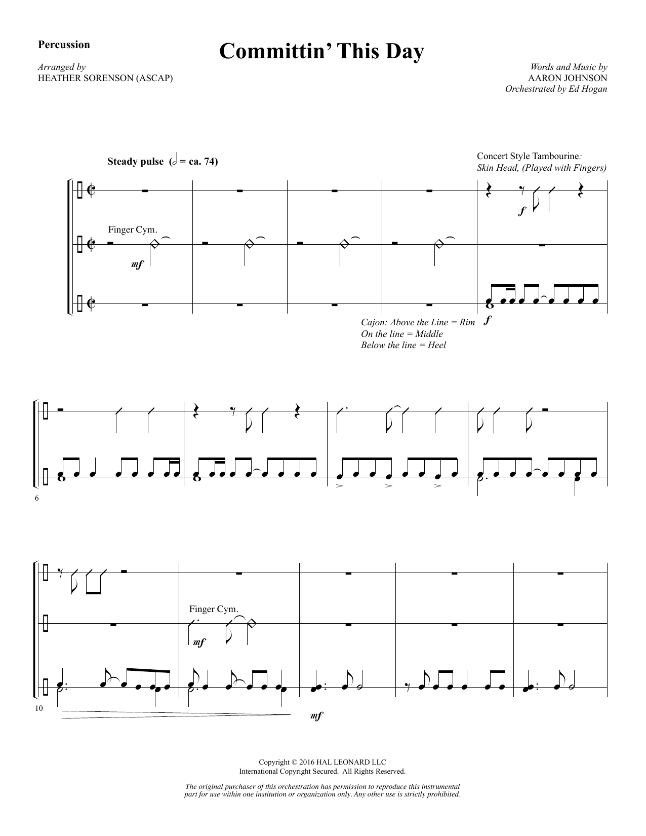 Heather Sorenson Committin' This Day - Percussion sheet music notes and chords. Download Printable PDF.