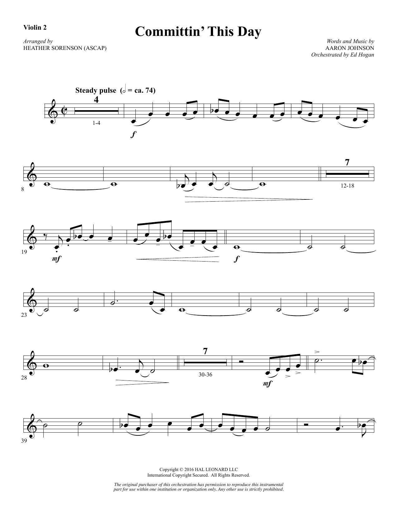 Heather Sorenson Committin' This Day - Violin 2 sheet music notes and chords. Download Printable PDF.