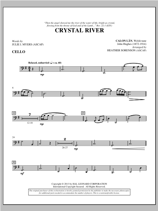 Heather Sorenson Crystal River - Cello sheet music notes and chords. Download Printable PDF.
